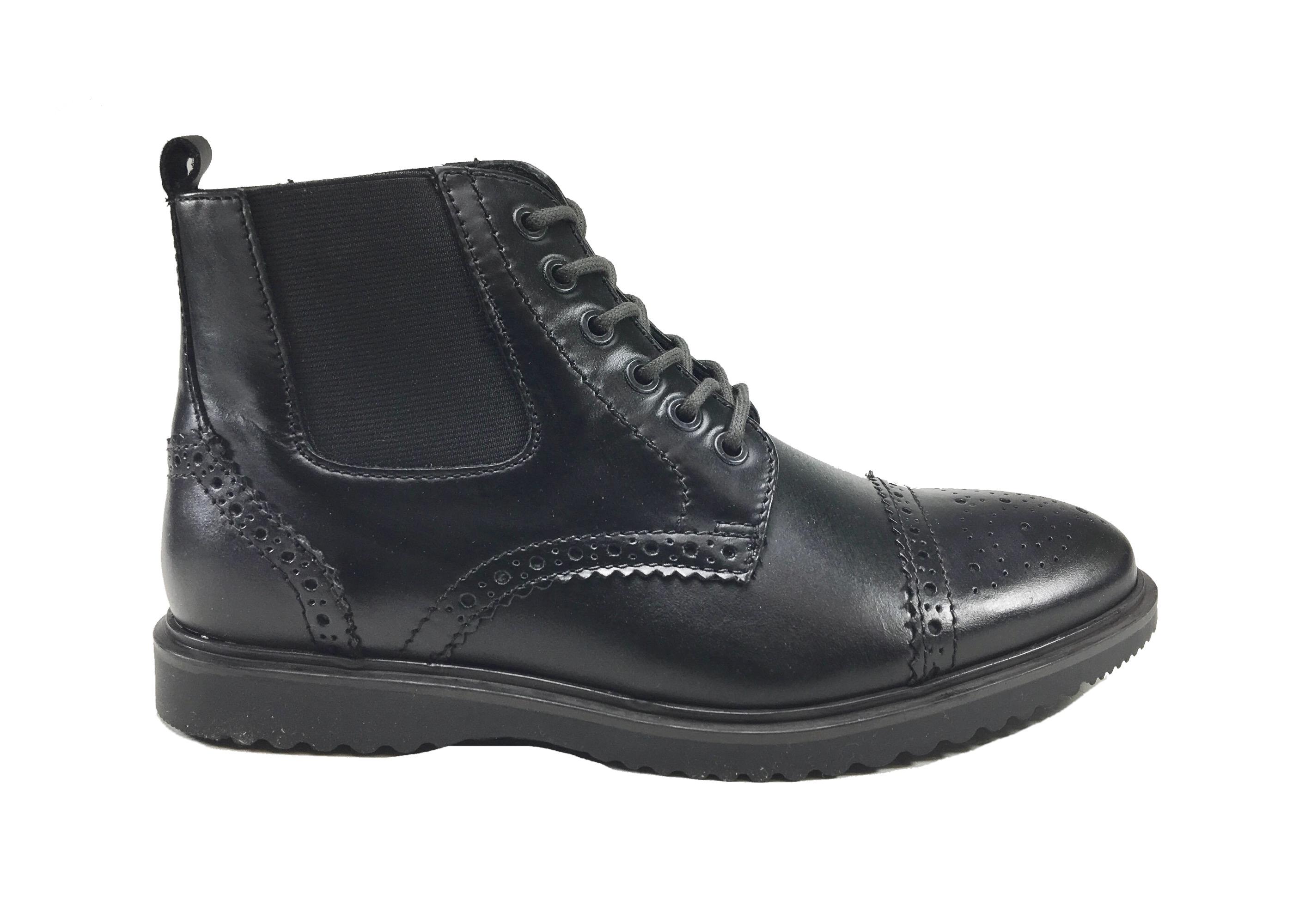 Scarpe uomo scarponcino moda casual   elegante in PELLE fondo gomma ... 9d0f01f8820